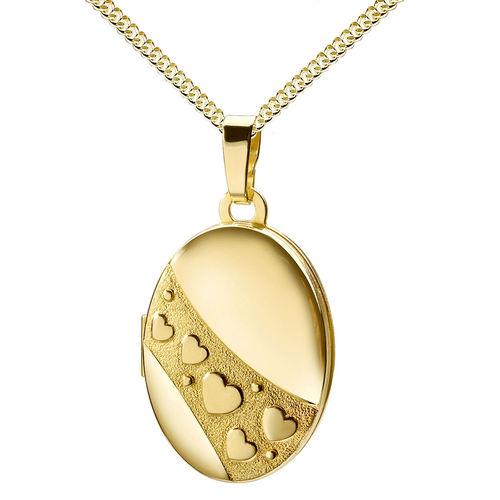 Medaillon oval mit Herzen 333 Gold Muttertag Valentinstag Liebe Schmuck Amulett für 2 Fotos + Kette