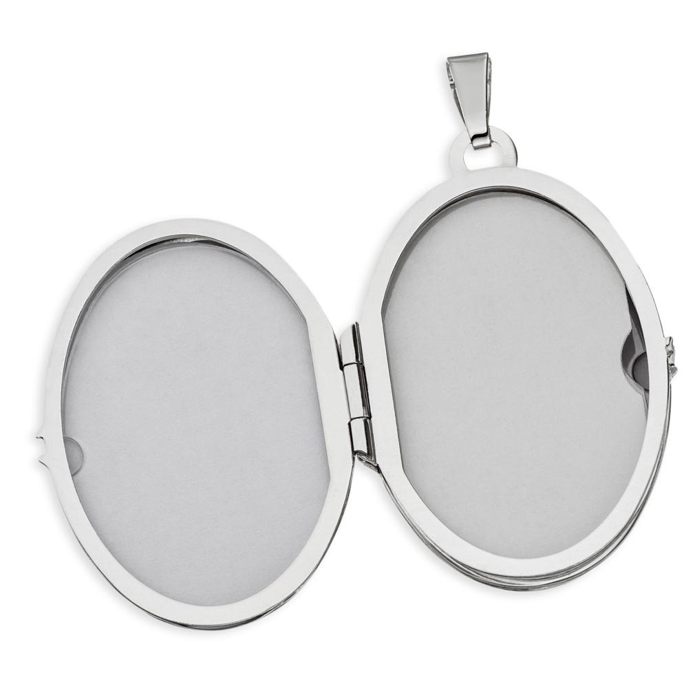 Medaillon oval mit Herzen 925 Silber Muttertag Valentinstag Liebe Schmuck Amulett für 2 Fotos+ Kette