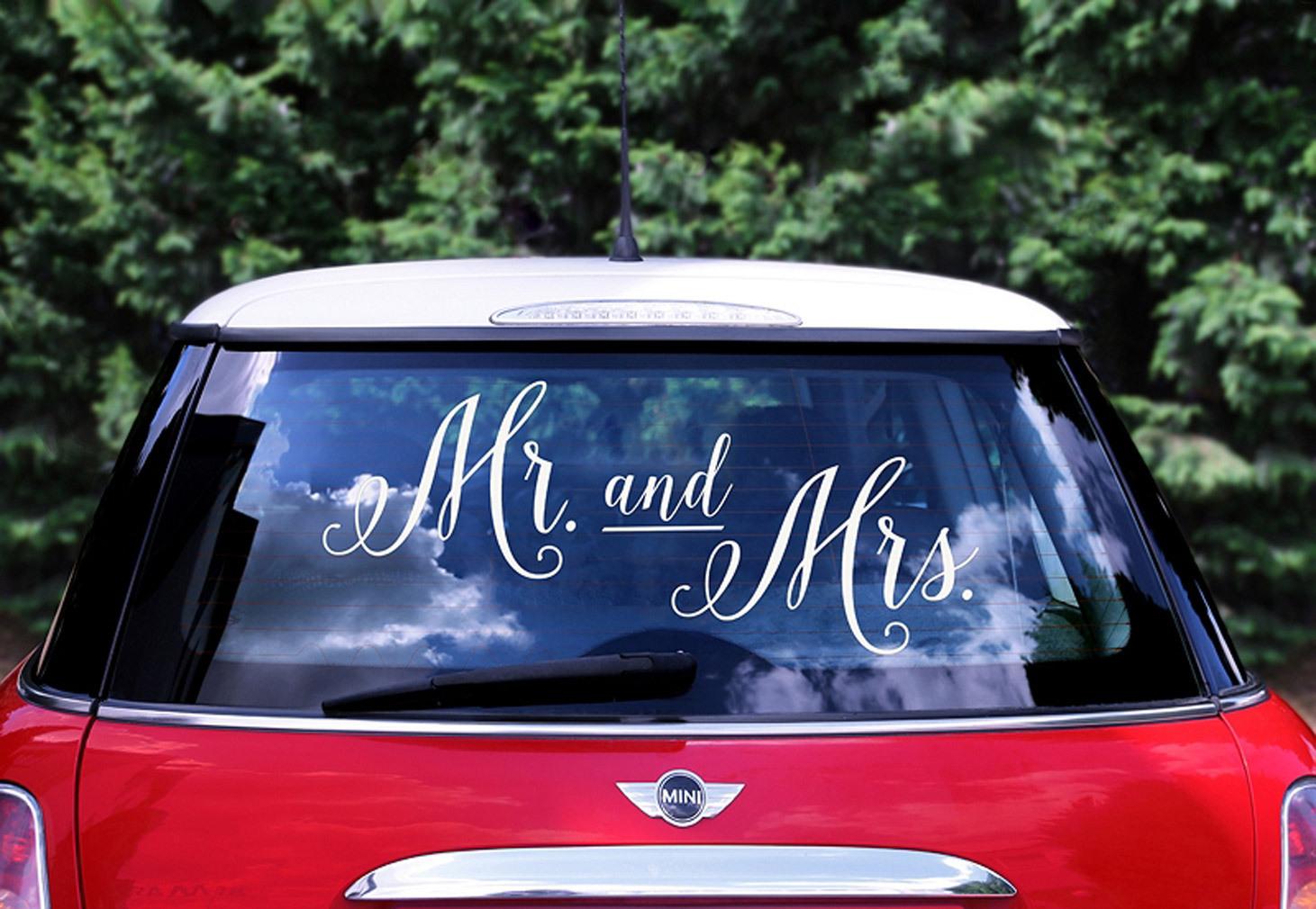 Sticker Aufkleber für Hochzeitsauto Mr. & Mrs. weiß Hochzeitsdeko Brautpaar