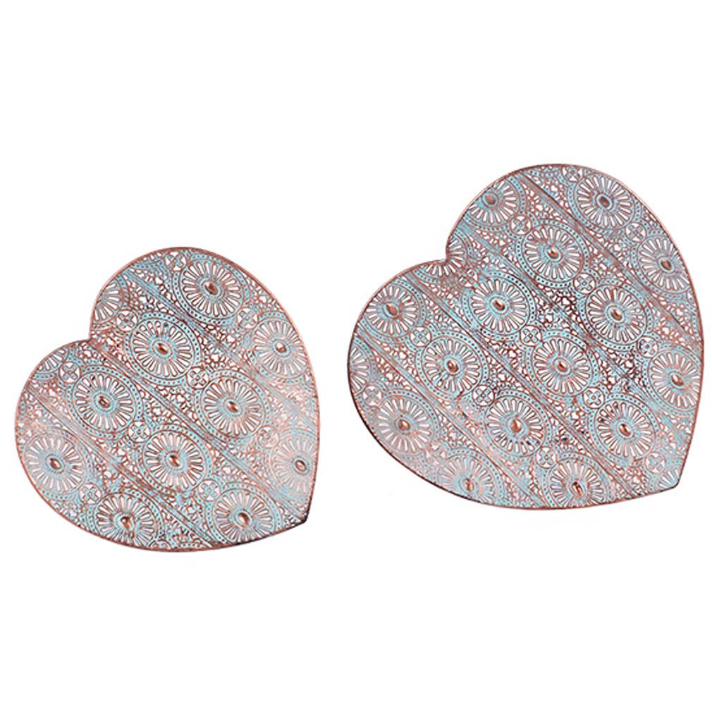 Tablett 2er Set Herz Deko-Schalen Ornament-Verzierung Metall Herztablett Tischdeko