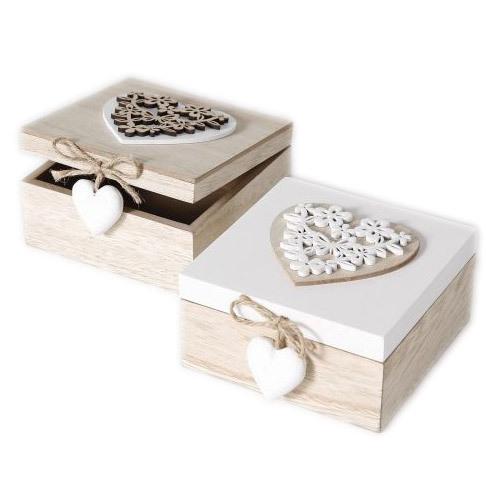 2er Set Holzbox weiß braun Herzmuster mit Steinherz an Kordel Erinnerungsbox Fotobox