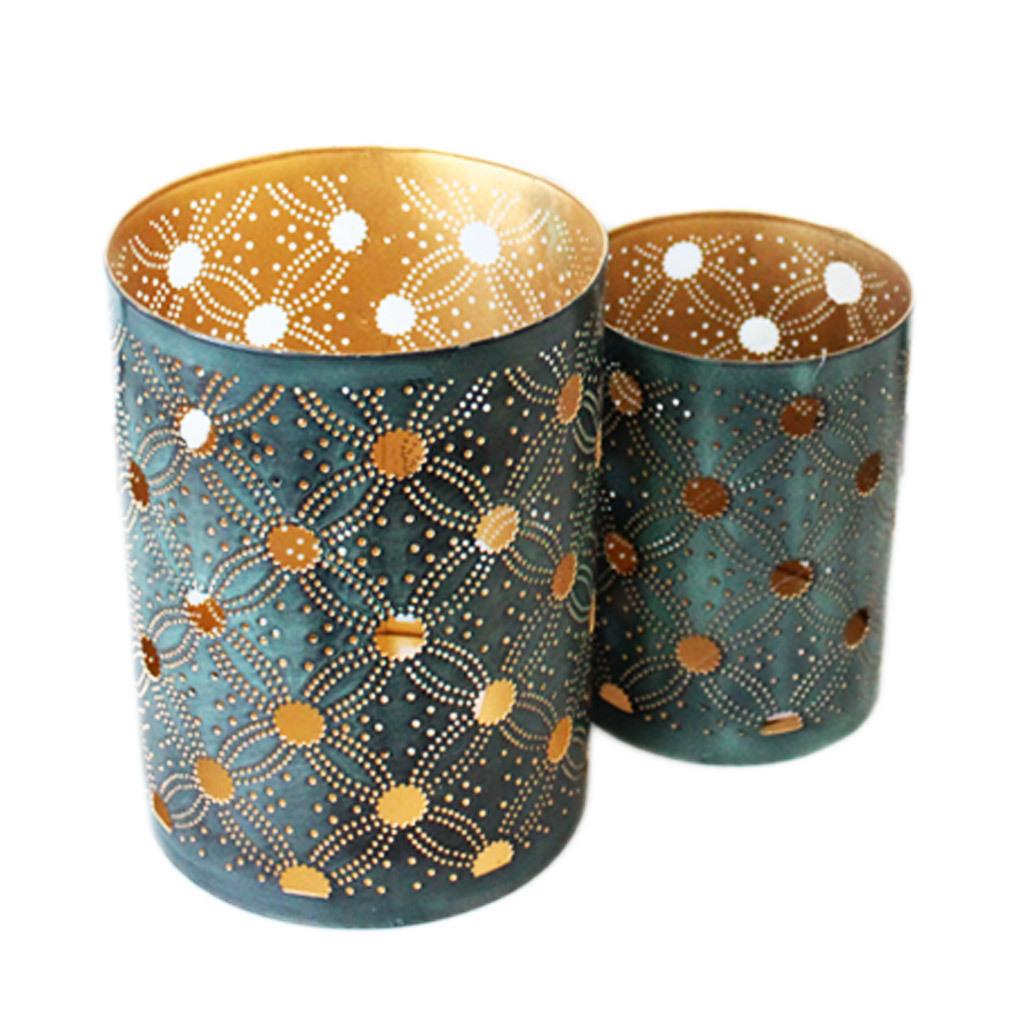 2er Set Windlicht grün-goldfarben Metall Laterne für Kerze und Teelicht Tischdeko