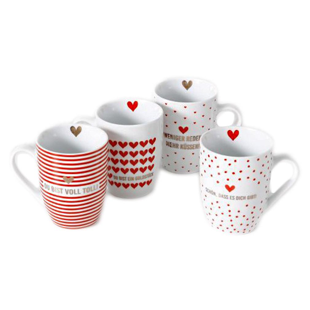 4er Set Tassen mit Herzmotiv rot weiß Kaffetassen Becher Geschirr
