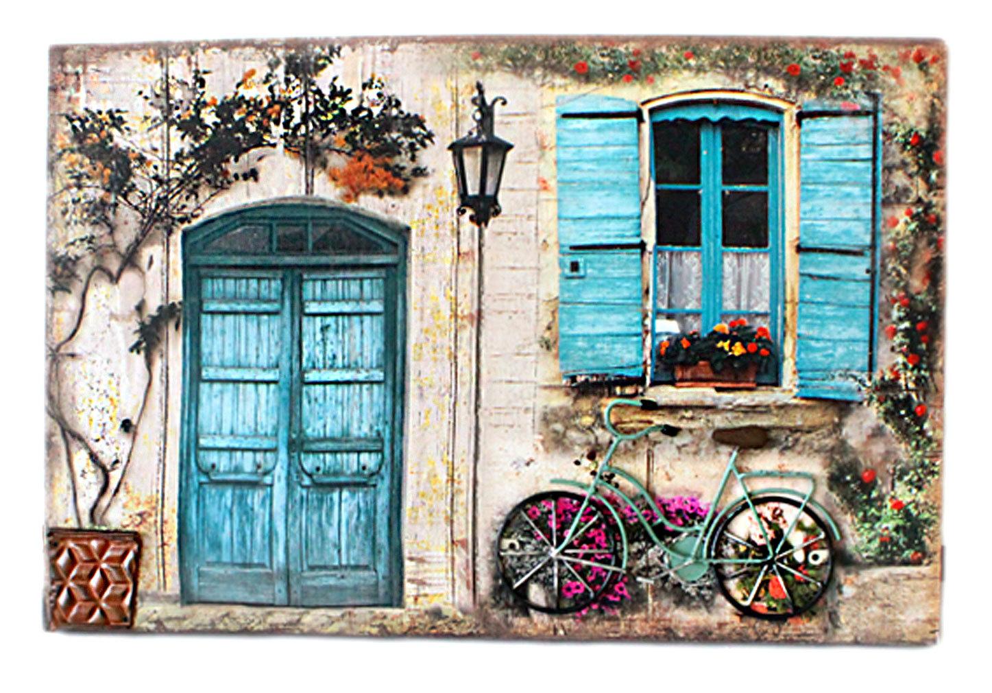 3D Wanddeko Wanddekoration Fahrrad Blumentopf Metall Canvas Wandbild