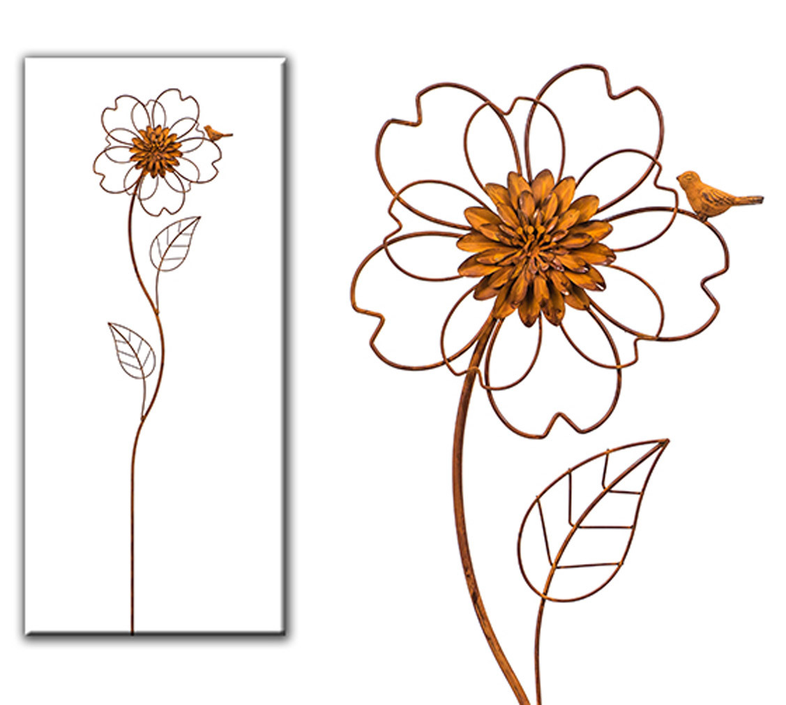Gartendeko Blume Rost Stab Aufsteller Vogel Gartenstecker Garten