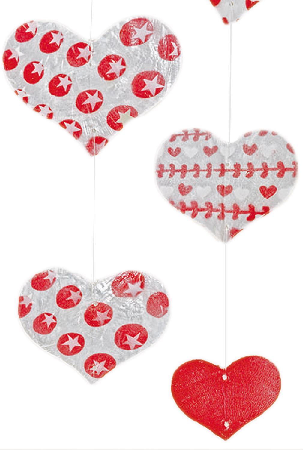 2er Set Grilande Capiz rot rosa Herz Fenster-Deko Herz Wohndeko Set dekorative Kette