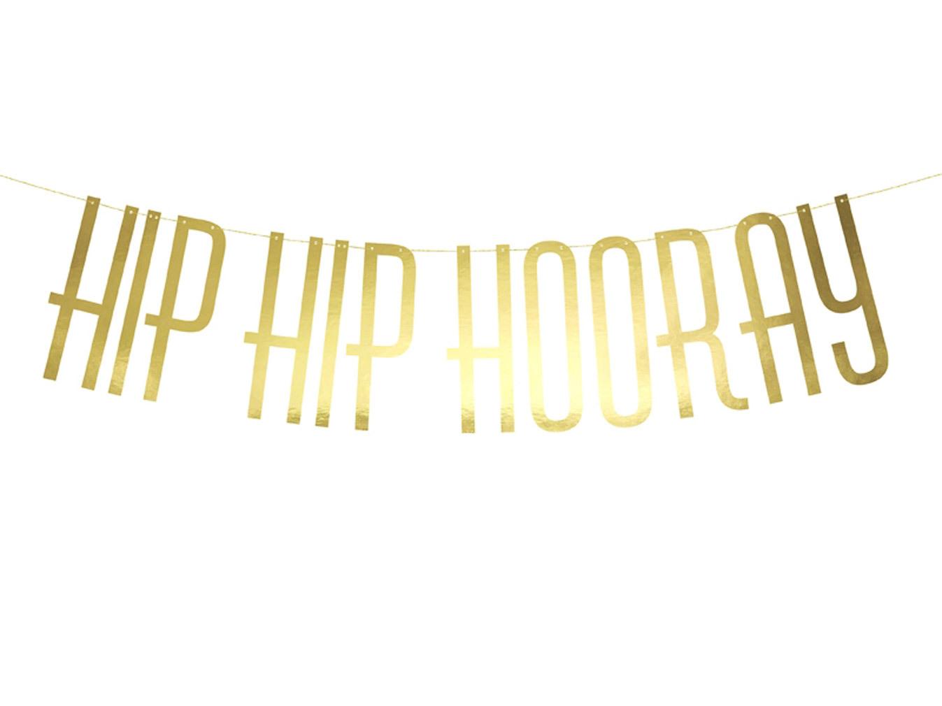 Party Girlande Hip Hip Hooray mit Kordel Banner zum Aufhängen goldfarben