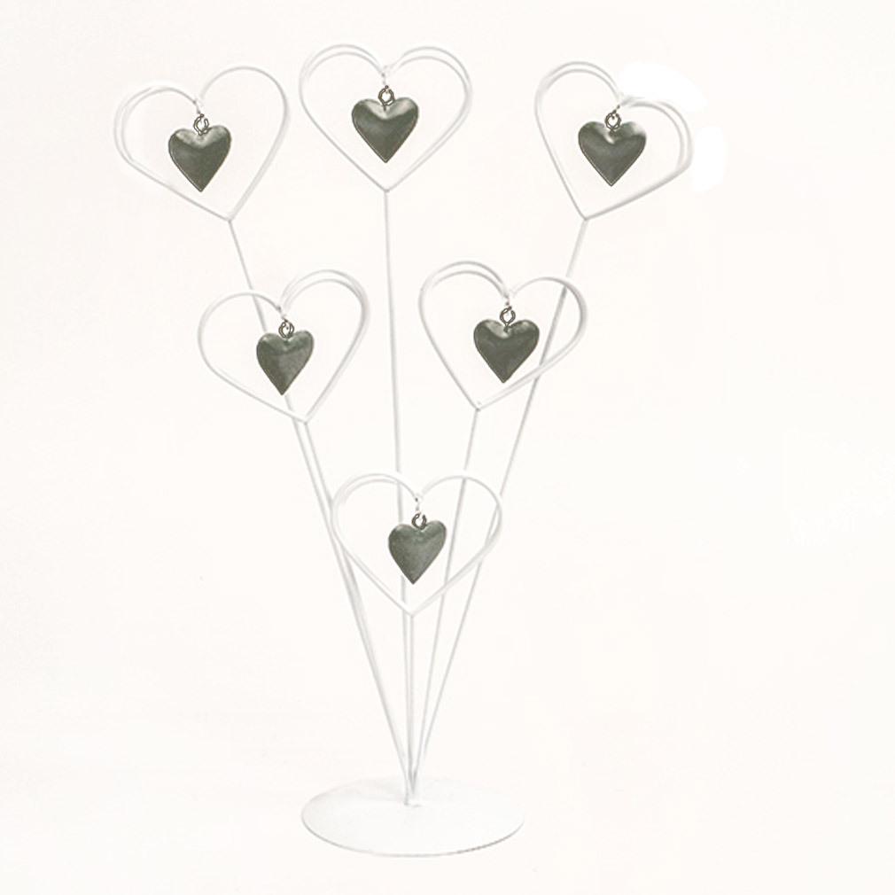 6er Kartenhalter weiß grau Metall zum Karten anstecken Fotohalter Herz