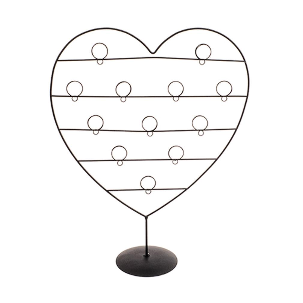 Großer Kartenhalter schwarz Metall für 12 Karten Bilder Fotohalter in Herzform