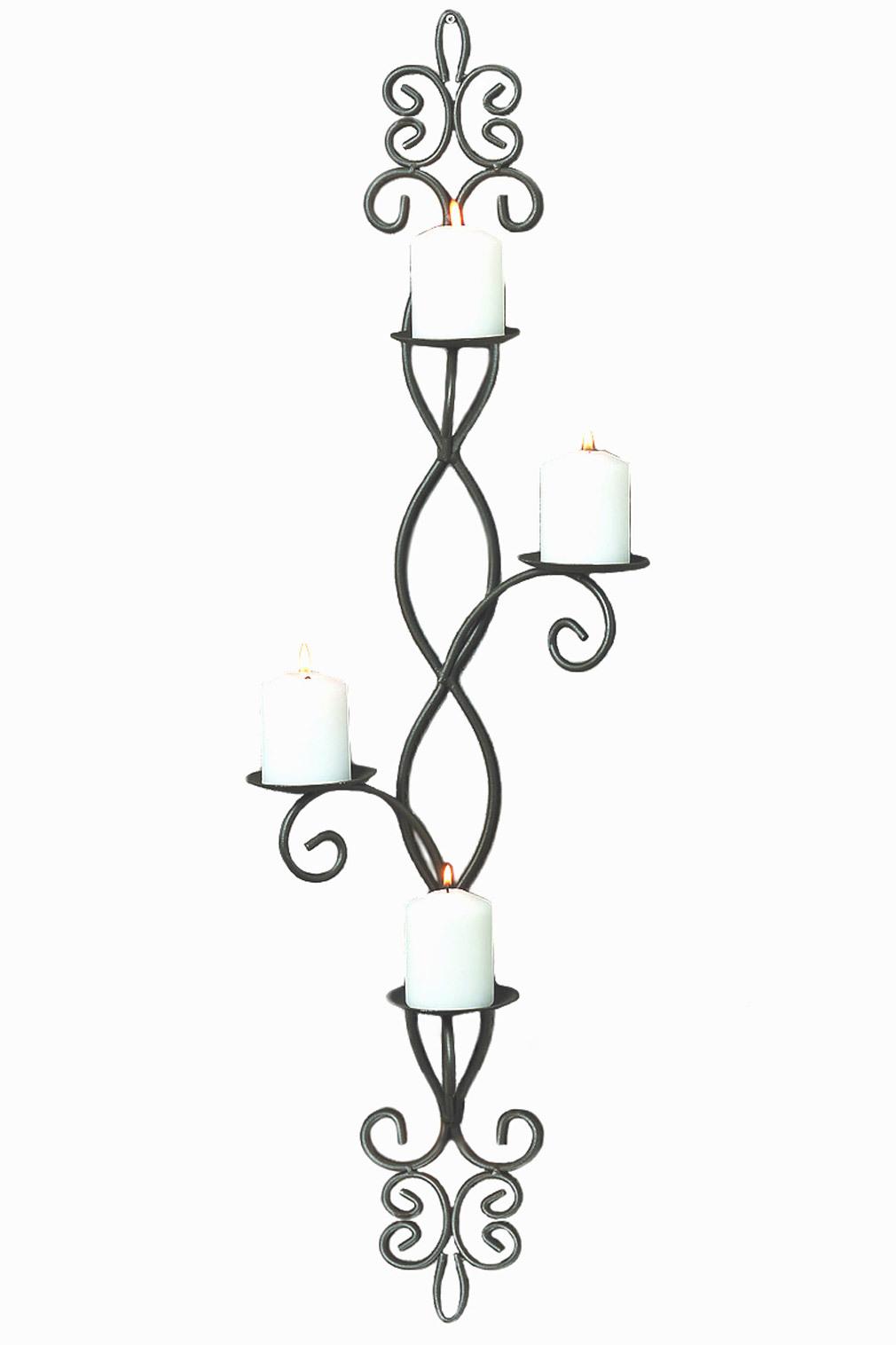 Wand-Kerzenleuchter für 4 Kerzen anthrazitfarben aus Metall Wanddeko