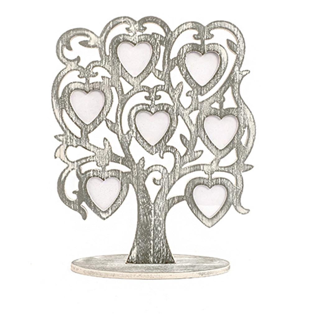 7er Bilderrahmen aus Holz Fotobaum für Bilder in Herzform Wohndeko Tischdeko