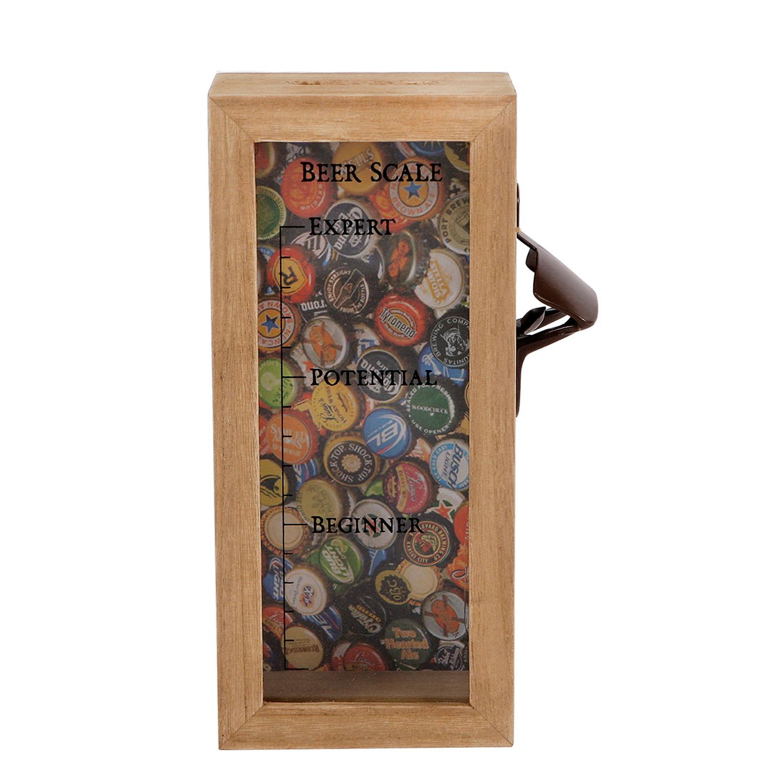 Bieröffner Flaschenöffner Holzbox zum Kronkorken/Bierdeckel sammeln mit Skala