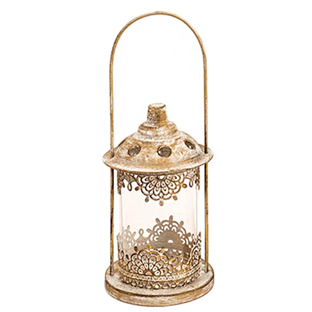 Windlicht goldfarben gekalkt Metall Laterne für Teelicht Tischdeko Terasse Balkon