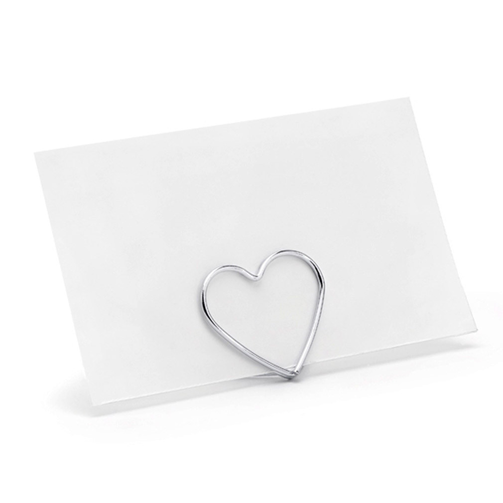 20er Tischkartenhalter silberfarben für den Hochzeitstisch Metall in Herzform
