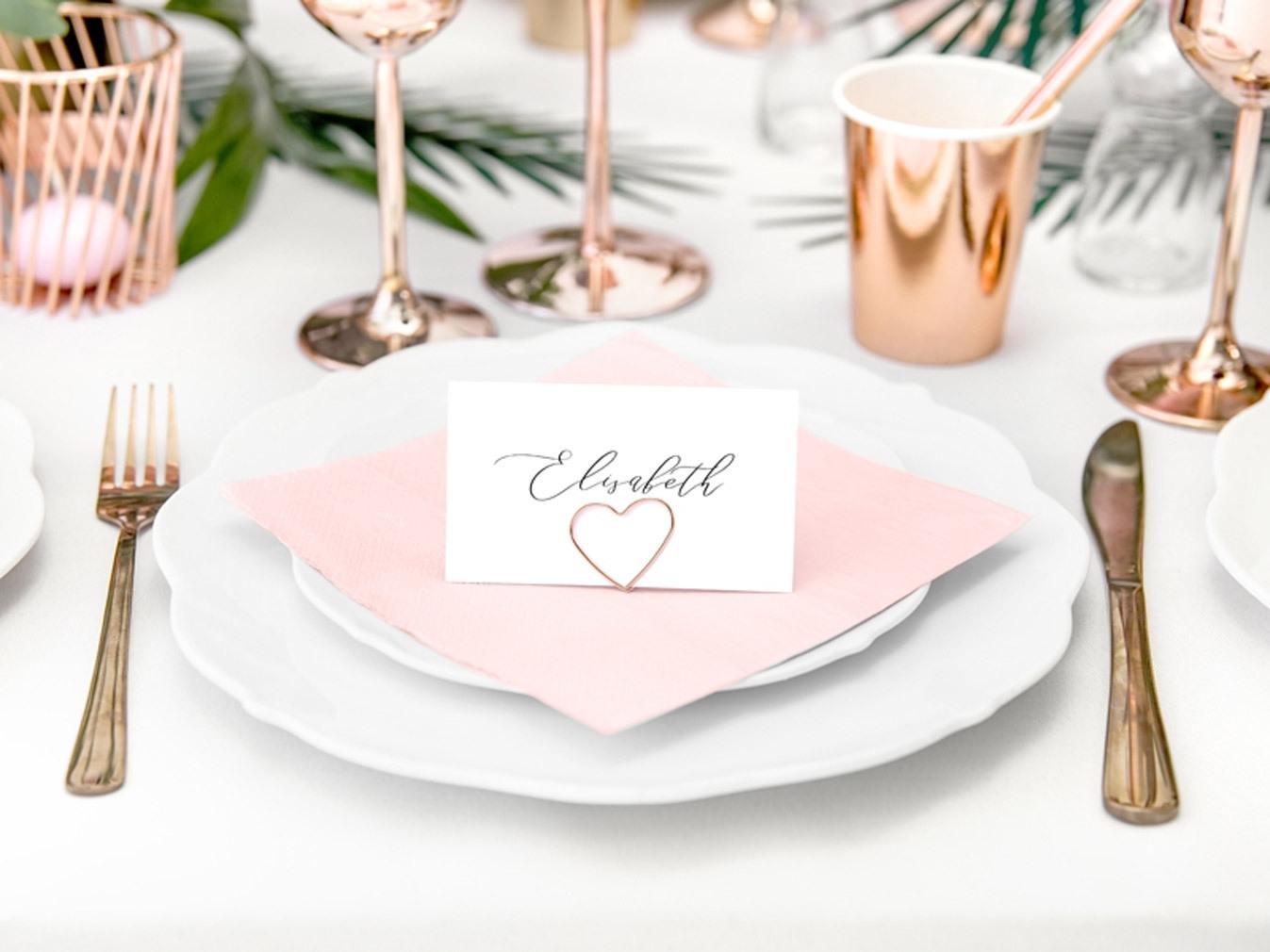 20er Tischkartenhalter roséfarben für den Hochzeitstisch Metall in Herzform