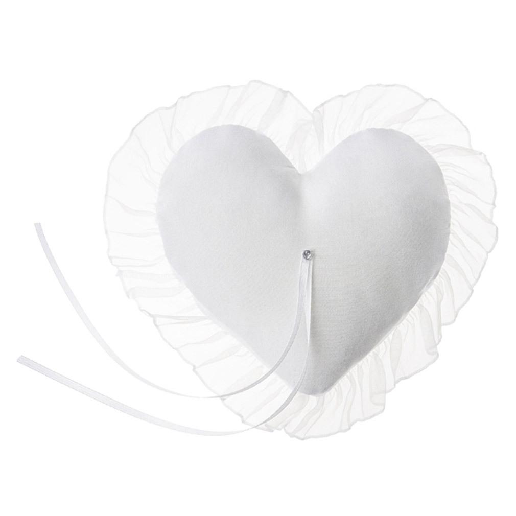 Ringkissen weiß für Trauringe Hochzeit Ringträger-Kissen Ringzubehör Herzform
