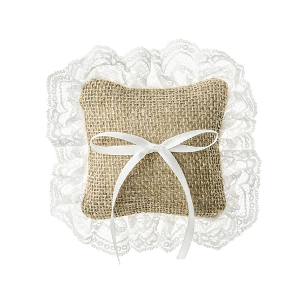 Ringkissen braun weiß für Trauringe Hochzeit Ringträger-Kissen Ringzubehör