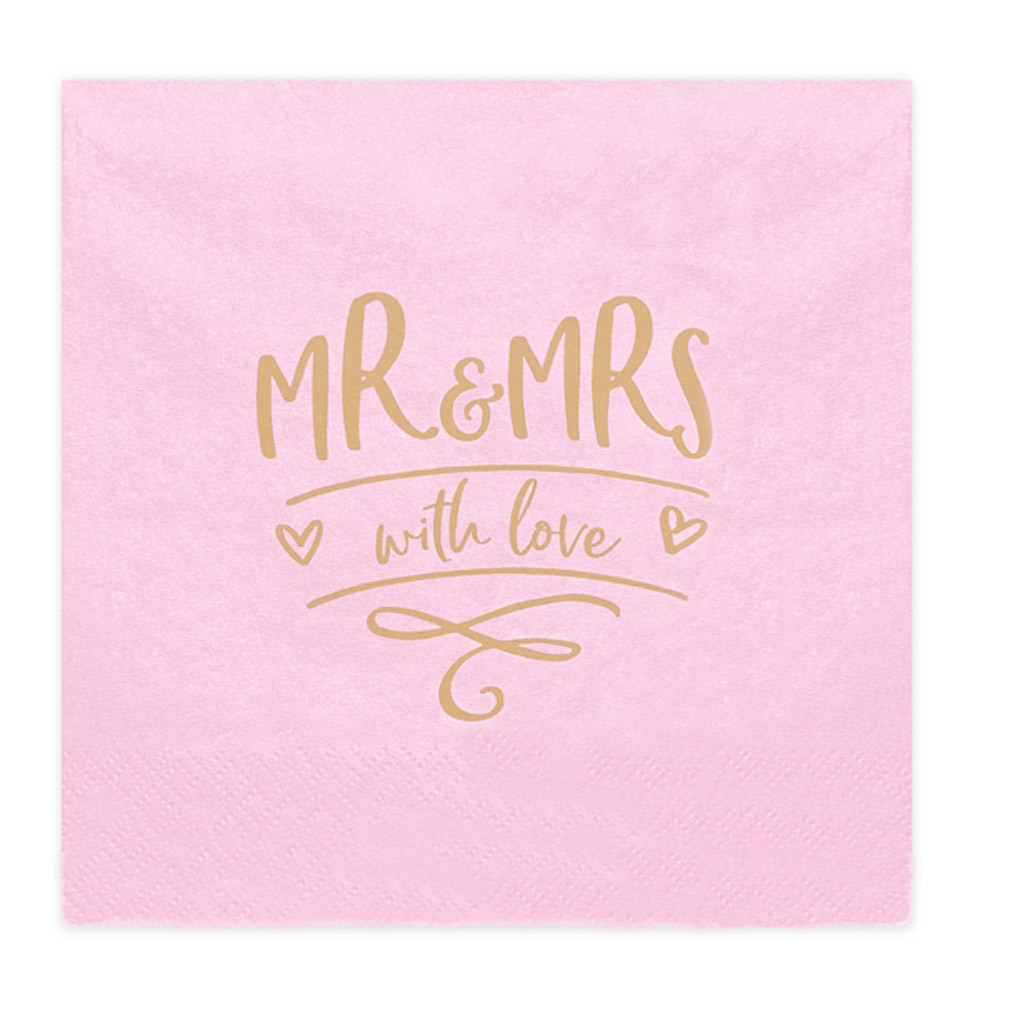 Hochzeits-Servietten Mr&Mrs with love Motiv pink rosa Tischdeko Buffet