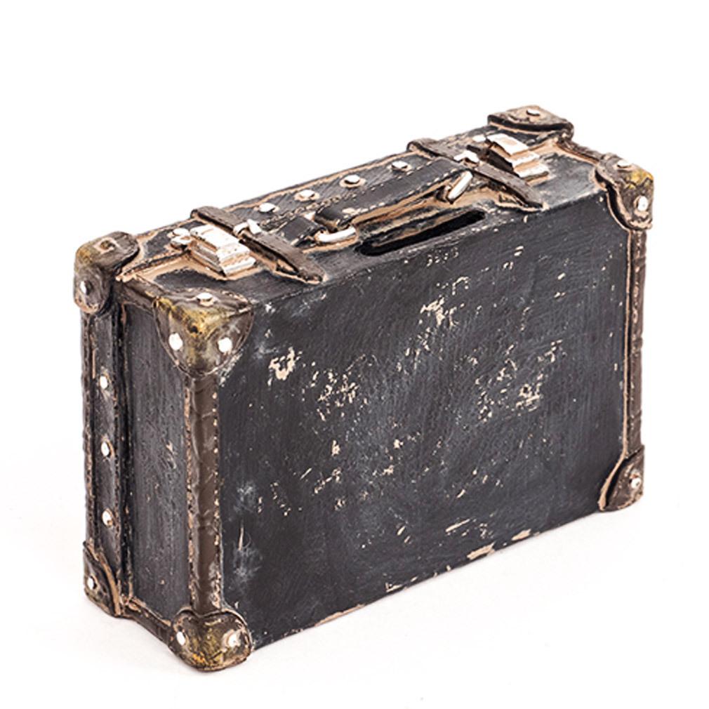 Spardose Koffer schwarz braun aus Polyresin Sparbüchse zum Geld sparen