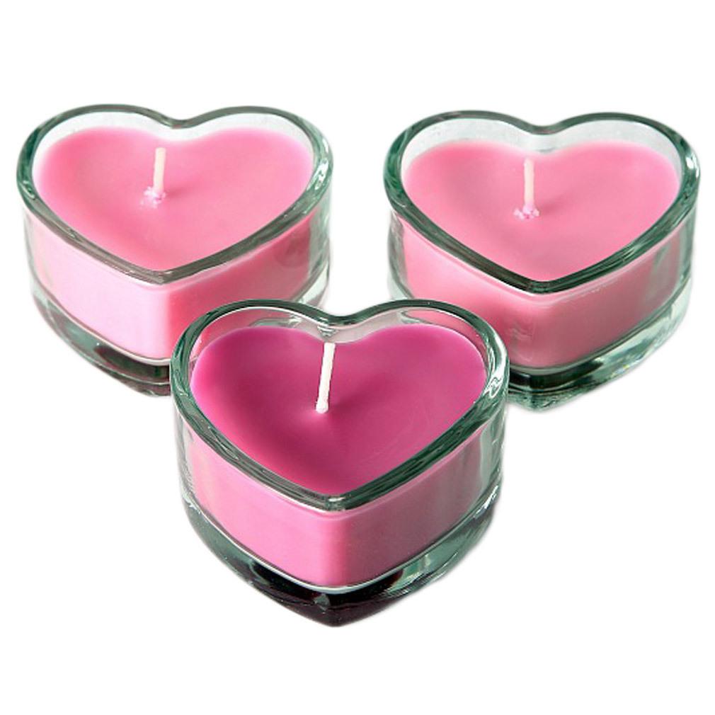 3er Set Herz-Kerzen pink Glas Tischdeko Valentinstag Hochzeit
