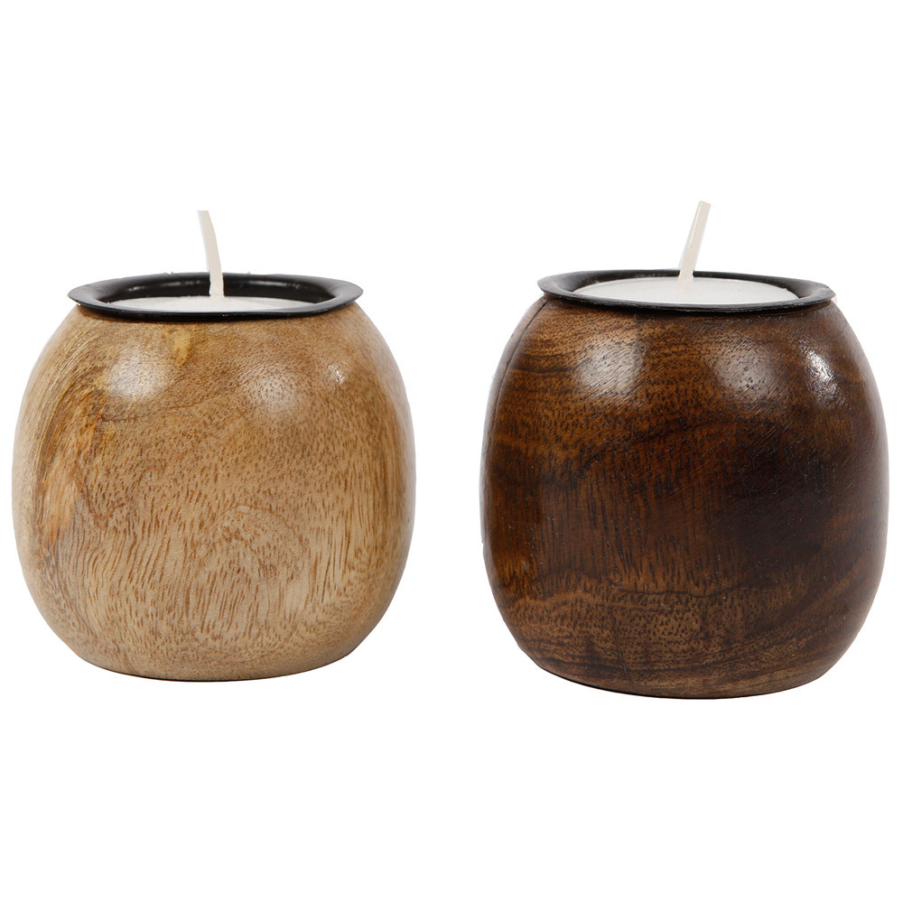 2er Set Teelichthalter Dekoration Holz Used-Look Tischdeko Eingangsbereich Wohndeko