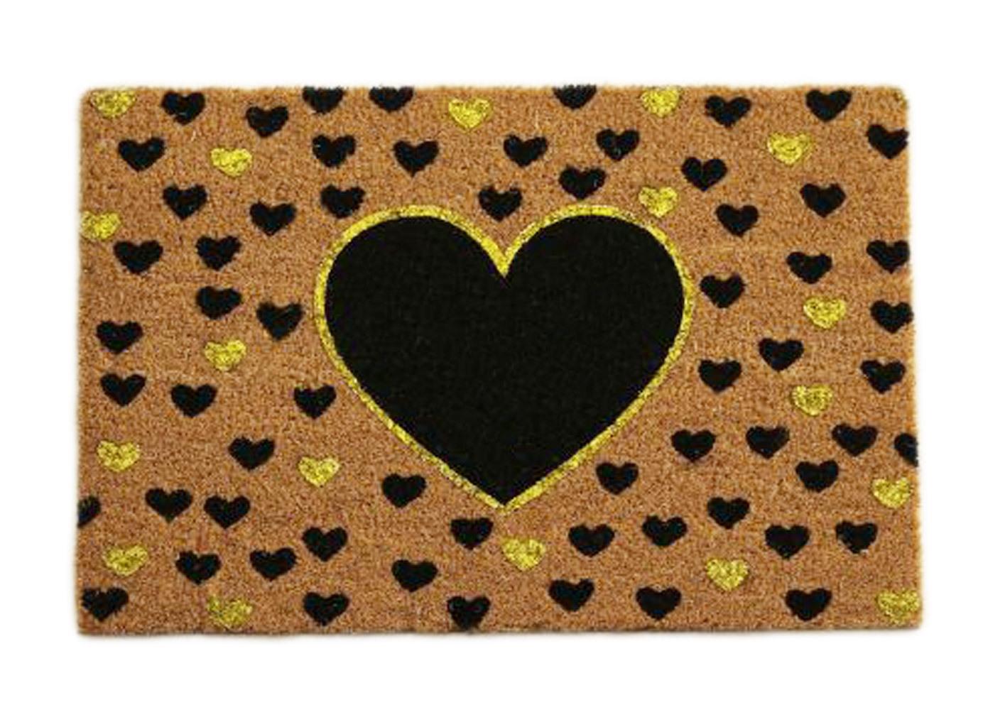 Fußmatte Türmatte Herzmotiv Kokosfasern braun/schwarz/goldfarben mit Glitter