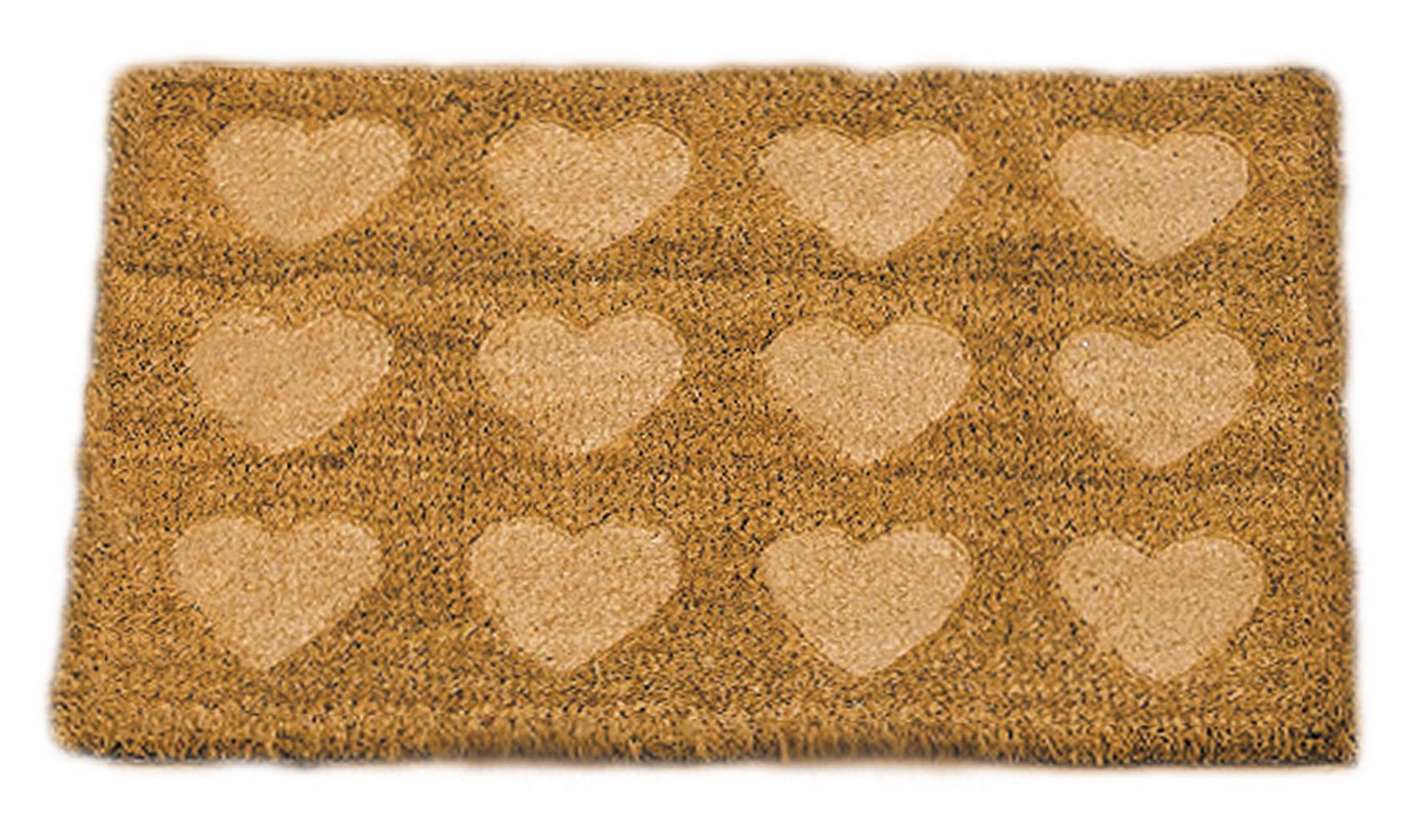 Fußmatte Türmatte Fußabtreter Kokosfasern braun mit Herzmotiv gestanzt
