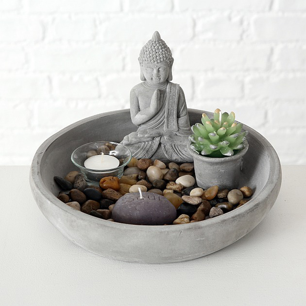 ZEN Teelichthalter Glas Teelichtschale + Dekomaterial Steinen Kerze Feng Shui