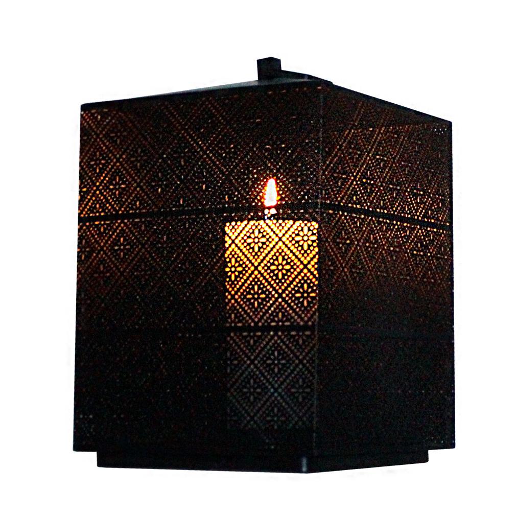 XL Laterne Windlicht eckig Metall - Haus Gartendeko Kerze Teelicht kreative Struktur