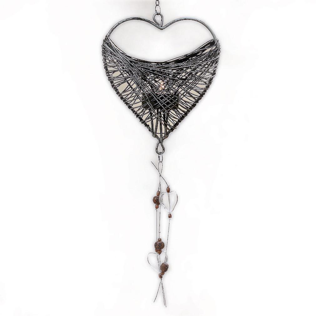 Teelicht-Hänger in Herzform mit Nostalgischem Muster Gitter-Stil für Teelicht