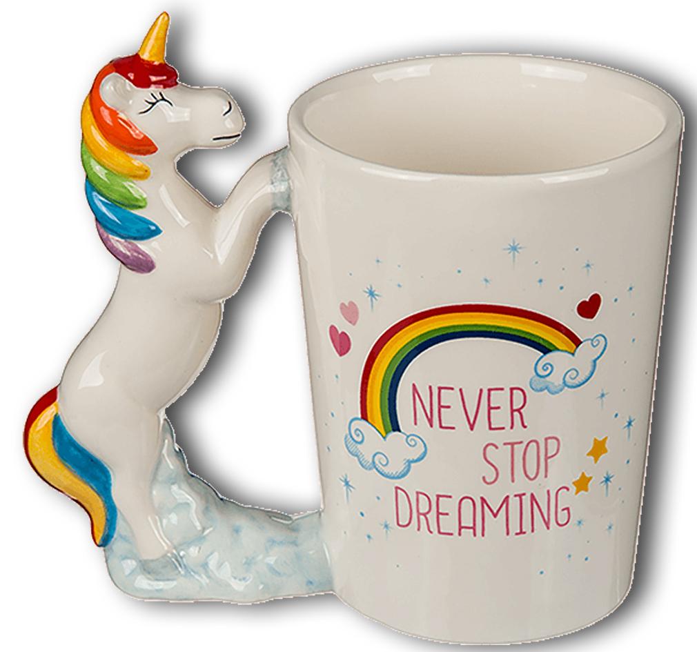 """Kaffee-Becher Kaffeetasse Becher Tee-Tasse - mit Einhorn """"Never Stop Dreaming"""""""