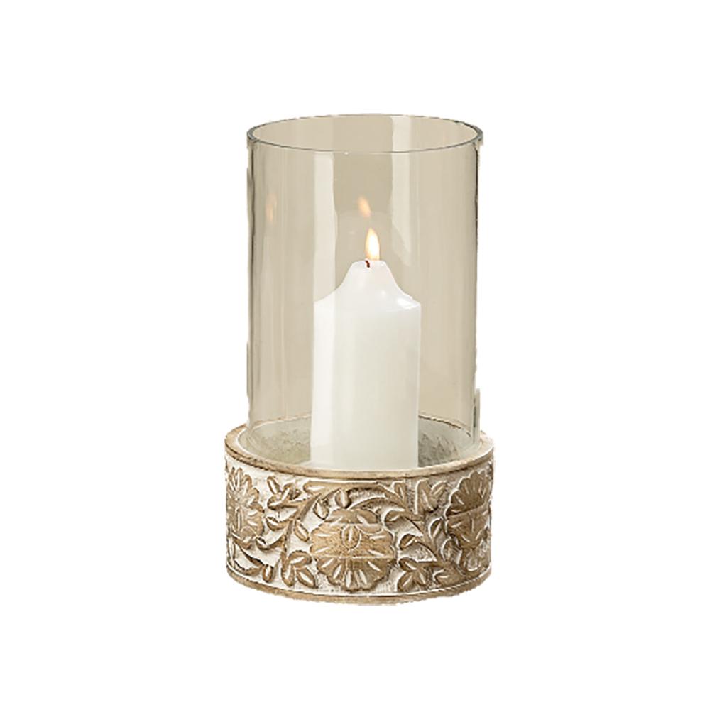 XXL Windlichtglas Teelichthalter Dekoglas Mango-Holz und Blumenverzierung