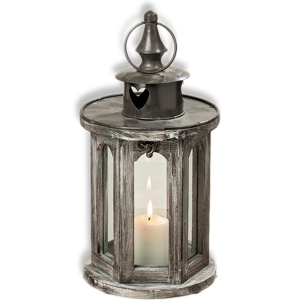 Laterne Windlicht Herz Holz - Glas Herzlaterne in Haus und Garten für Kerze