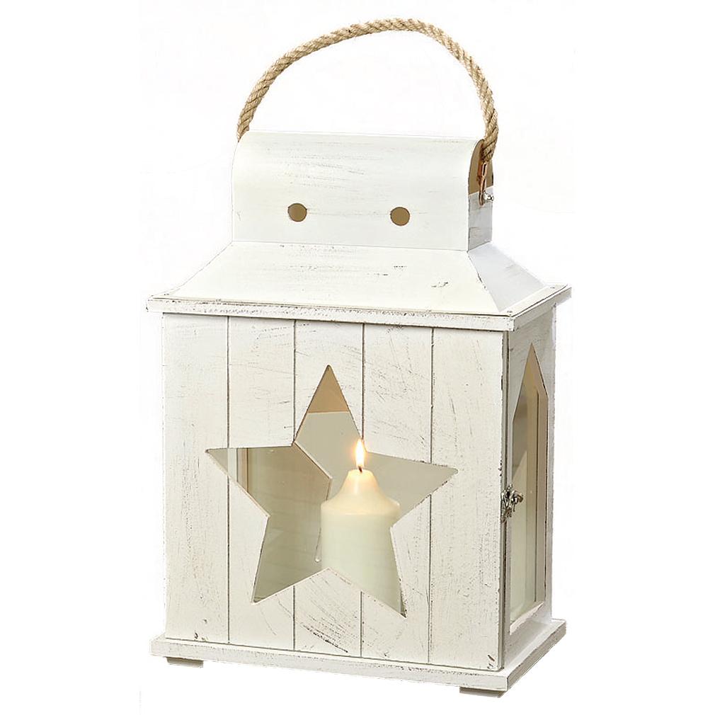 2er set laterne windlicht metall haus wei gartendeko kerze teelicht stern ebay. Black Bedroom Furniture Sets. Home Design Ideas