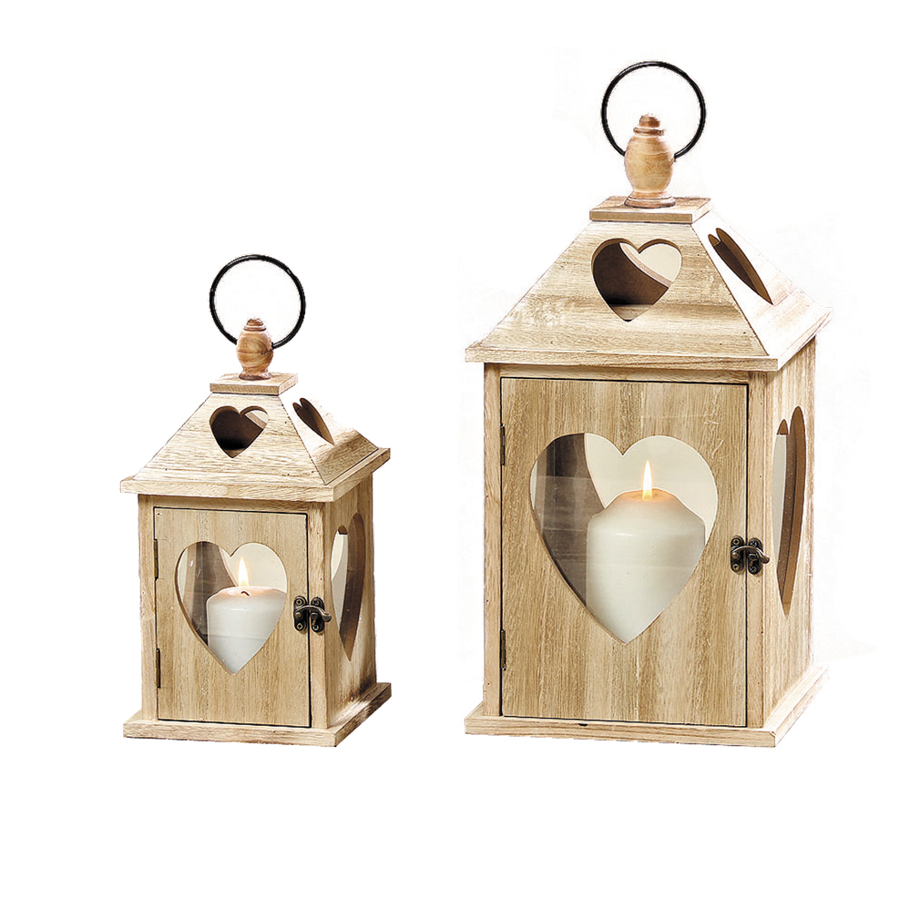 Laterne Windlicht Holz Haus - Braun - Gartendeko Kerze Teelicht mit Herzfenster Glas