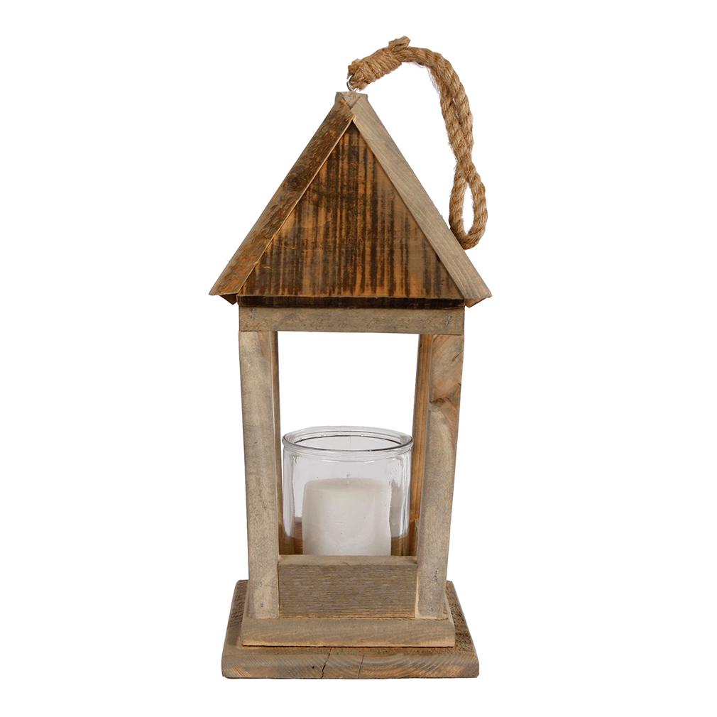 Laterne - Windlicht am Kordel Haus- und Gartendeko Holz mit Glas