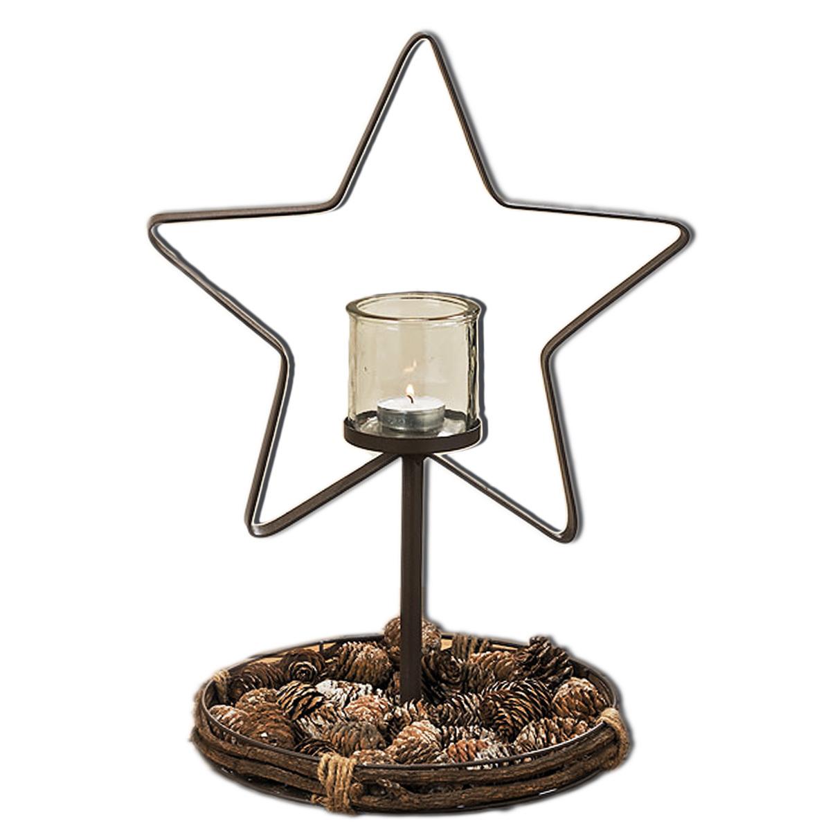 Teelichtständer in Stern aus Metall mit Glashalter für Teelicht oder Kerze braun