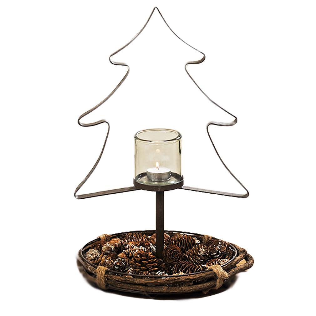 Teelichthalter in Tannenform mit Glashalter für Teelicht oder Kerze