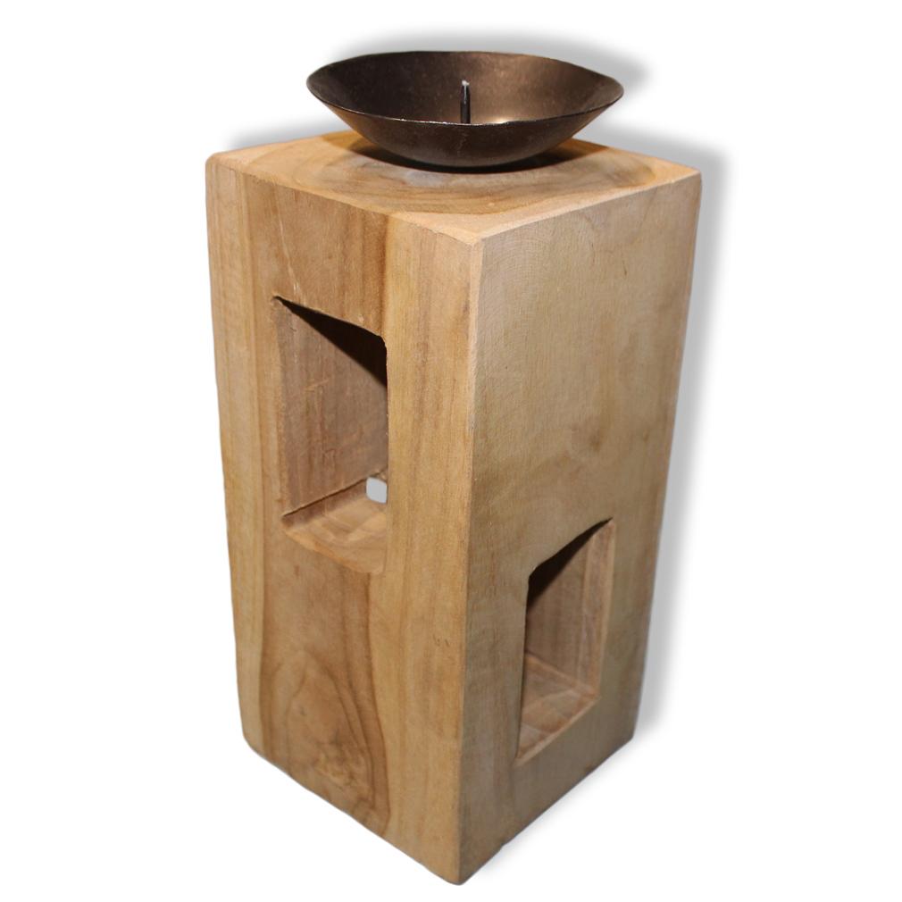 Teelichthalter Dekoration Kerzenhalter Teakholz rustikal groß braun Natur-Holz