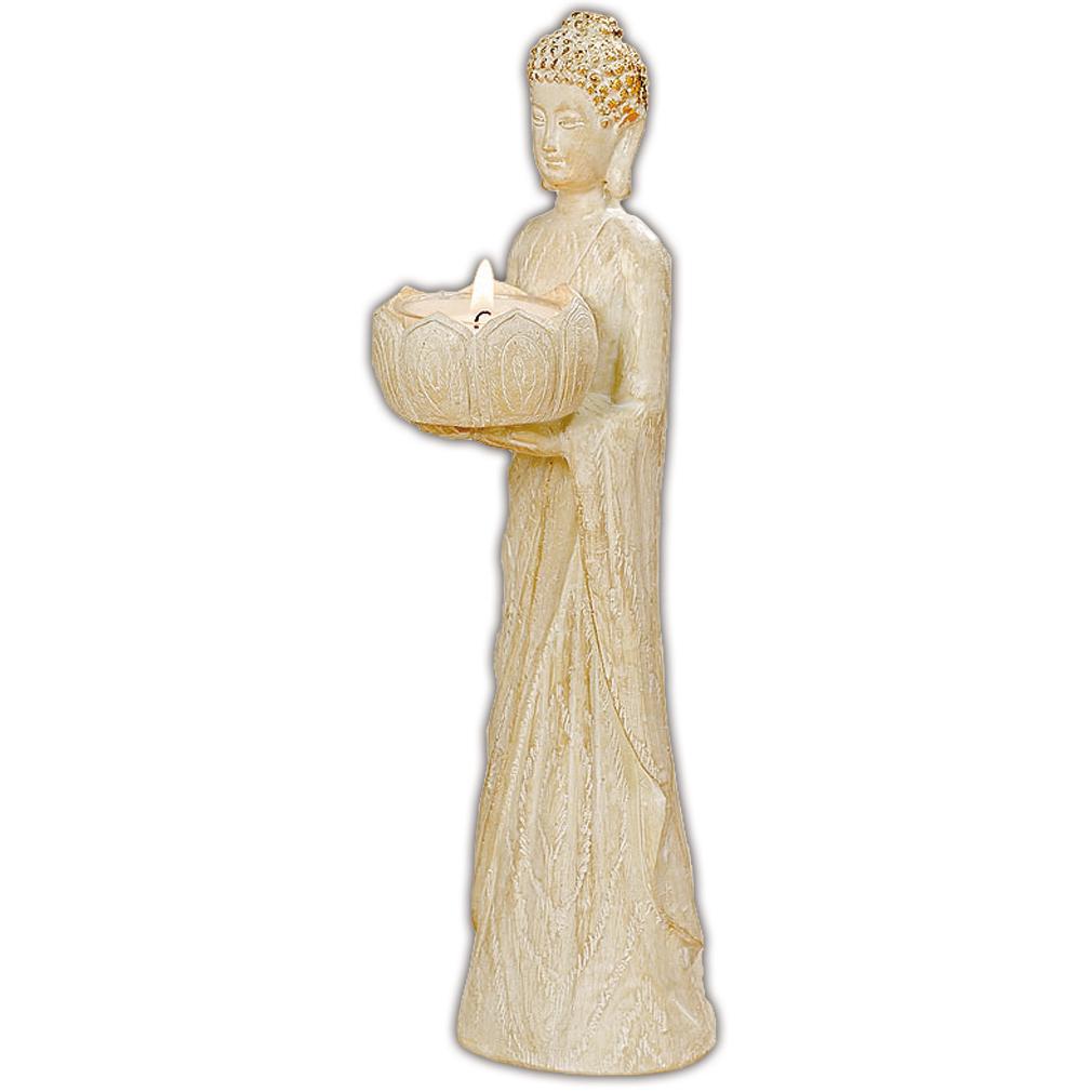 Buddha Aufsteller Kerzenhalter Teelichthalter Creme-Optik Kunstharz
