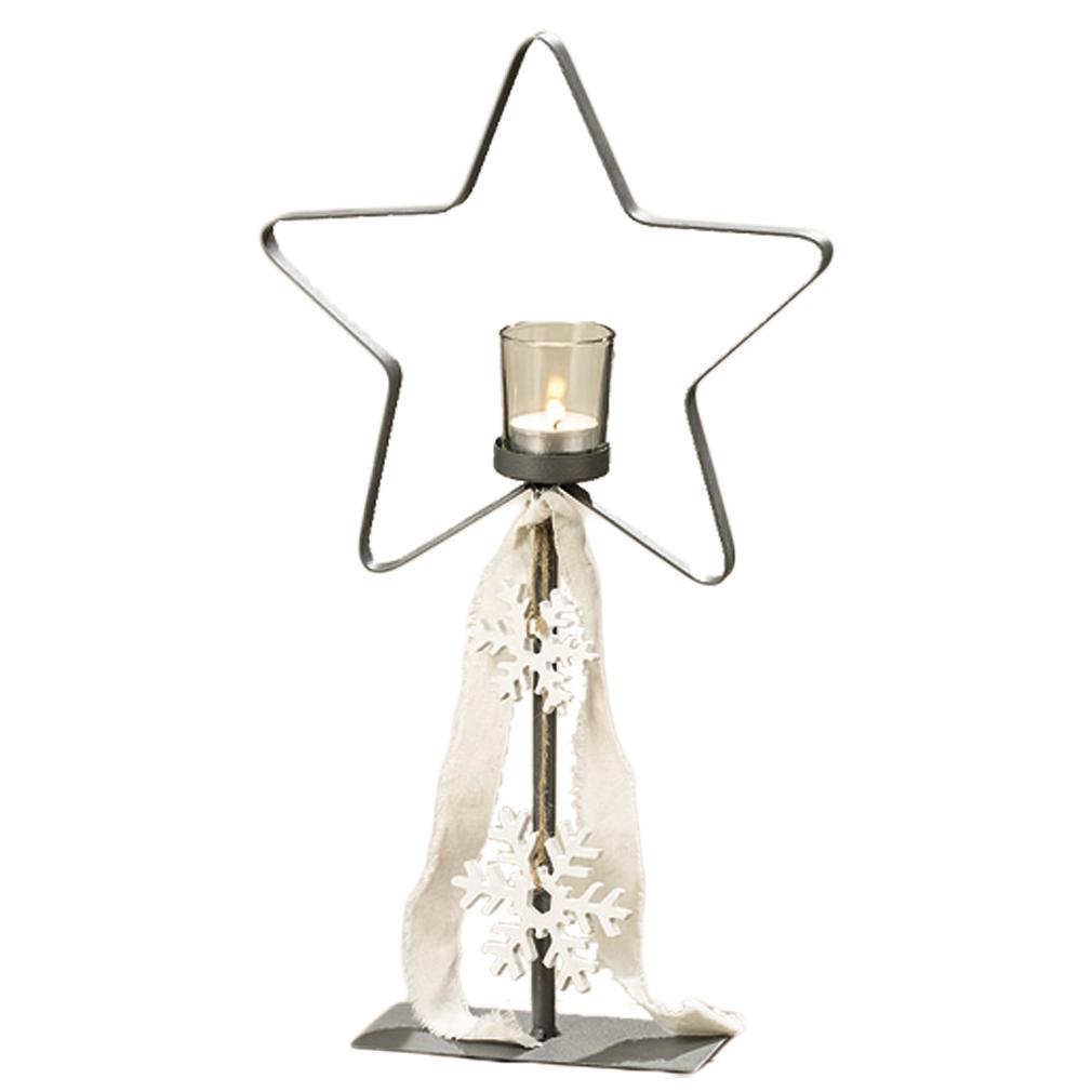 Teelichtständer in Sternform mit Glashalter für Teelicht oder Kerze