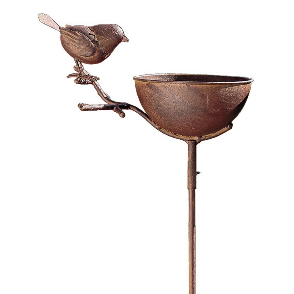 Vogeltränke Vogelbad + Stab Aufsteller in Rostoptik Metall - groß - Vogel Gartenstecker