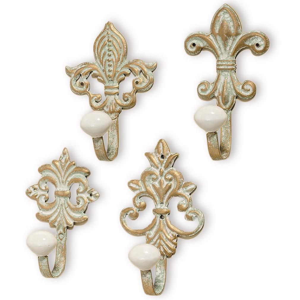 4er Wandhaken Set Garderobe Antik Haken Metall goldfarben türkis Keramik
