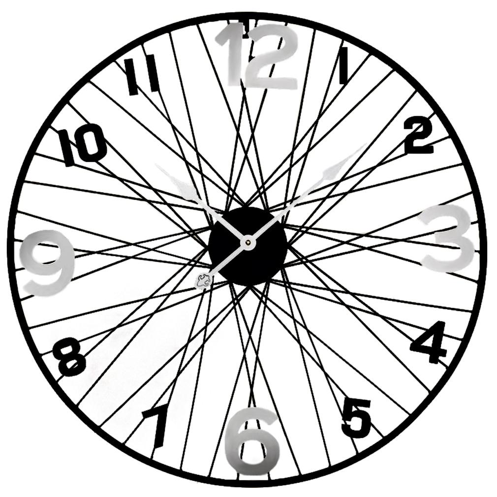 Große Metall XXXL Wanduhr Uhrwerk Dekouhr Nostalgie Modell Schwarz Speichen