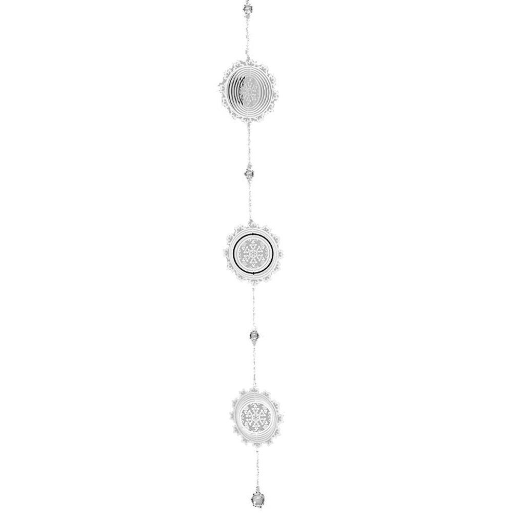 Girlande Windspiel Weihnachten Schneeflocke aus Metall silber