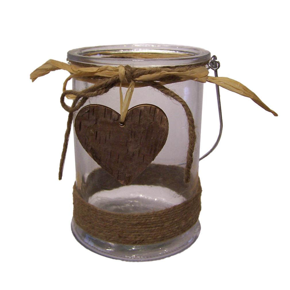 Laterne rund Windlicht für Kerze oder Teelicht Glas Metall Holzherz-Verzierung