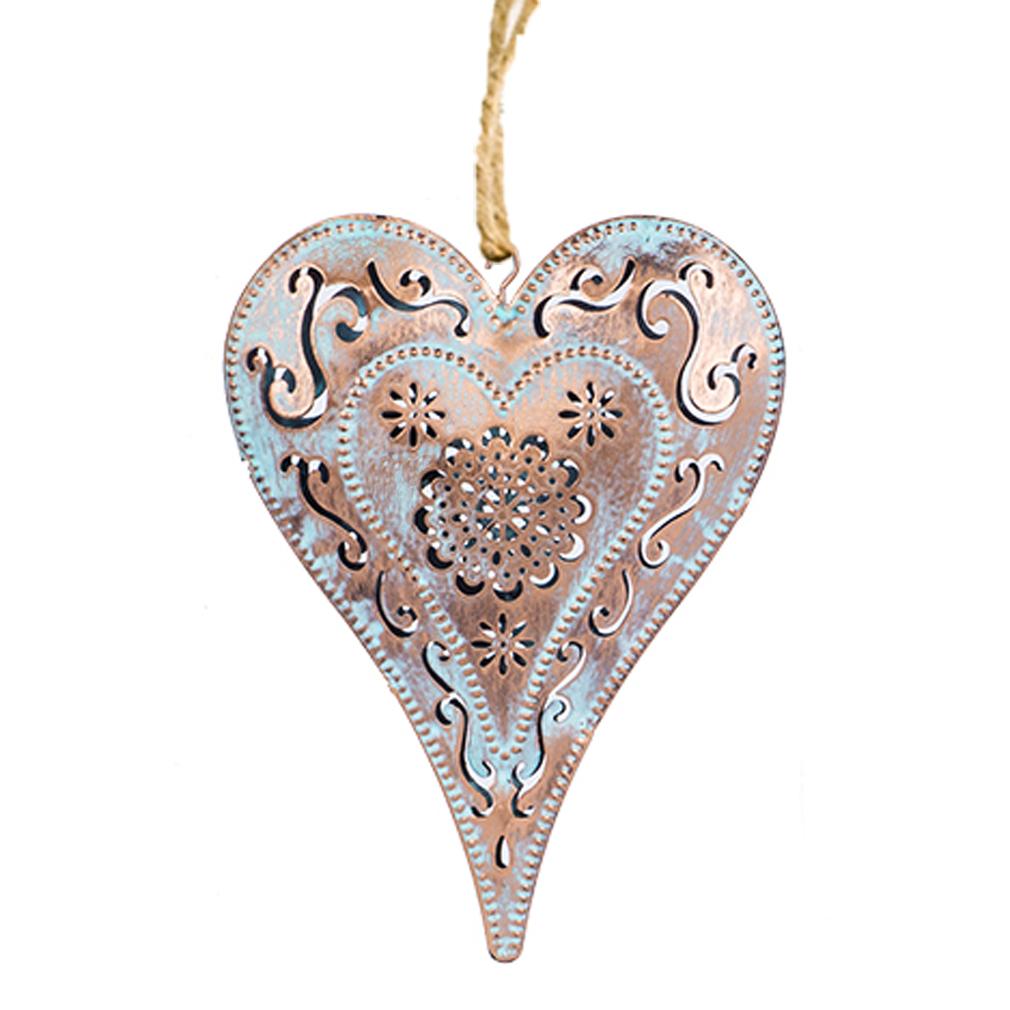 Hänger Herz Deko Fensterhänger Metall shabby Ornament-Verzierung türkis bronze
