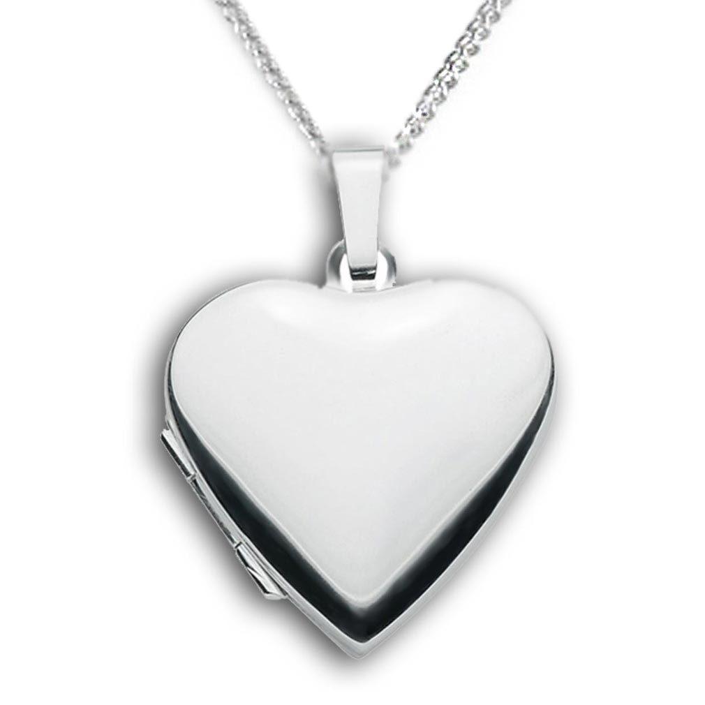 Medaillon Herz hochglanz 925 Sterling Silber für 2 Fotos + Kette + Schmuck-Etui