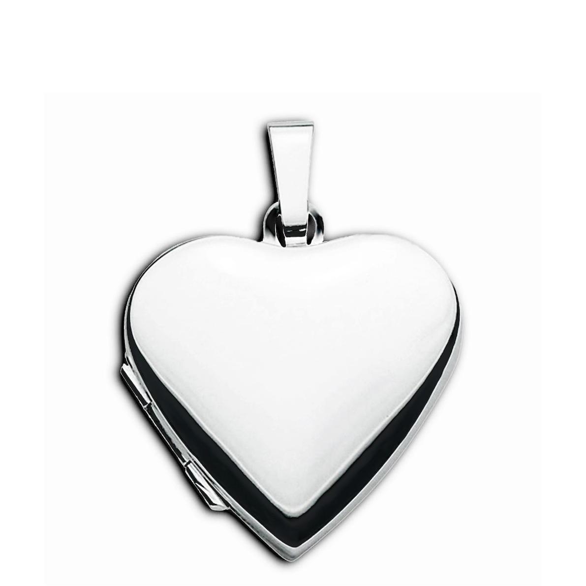 Medaillon Herz hochglanz 925 Sterling Silber für 2 Fotos mit Schmuck-Etui