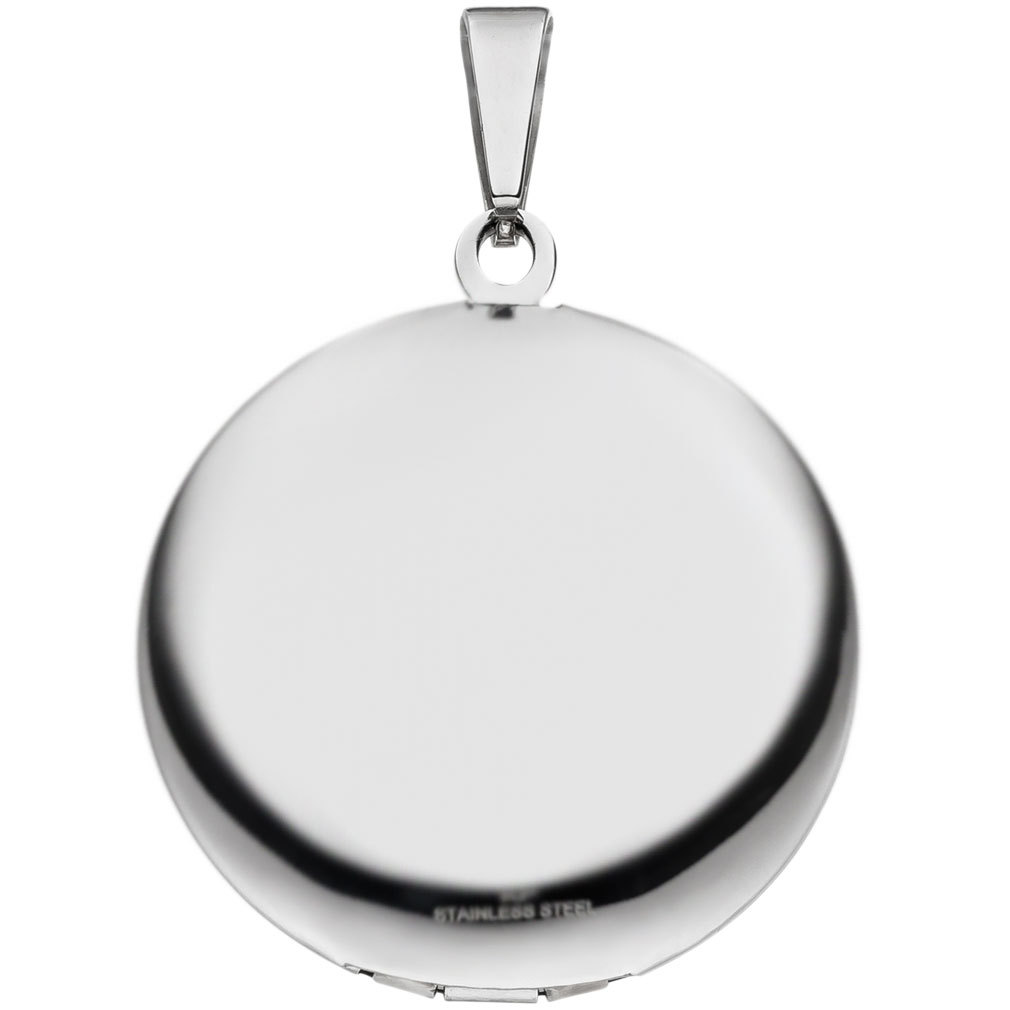 Medaillon rund Hochglanz aus Edelstahl für  1 Foto / Bild + Kette und Etui